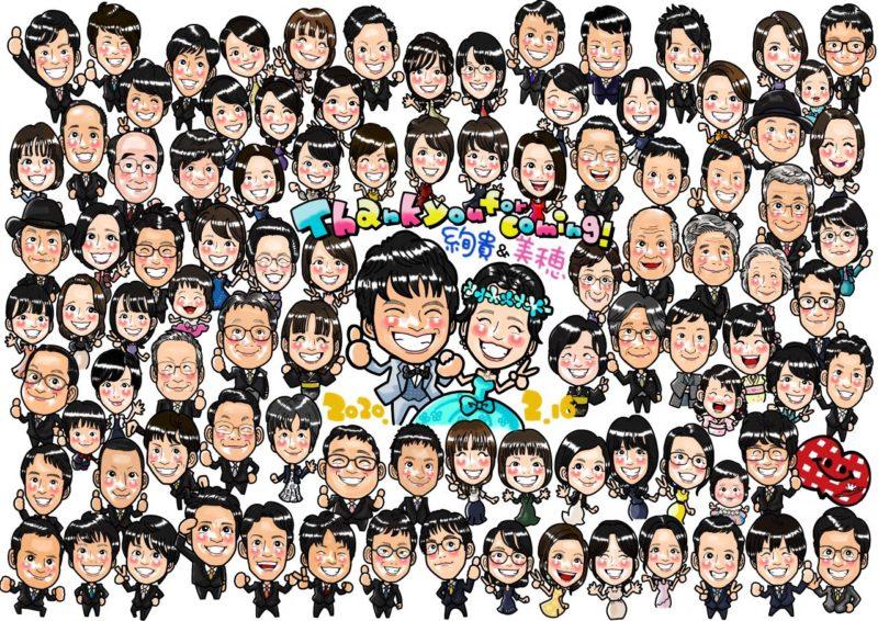 結婚式のウェルカムボードご参列者様全員集合の似顔絵