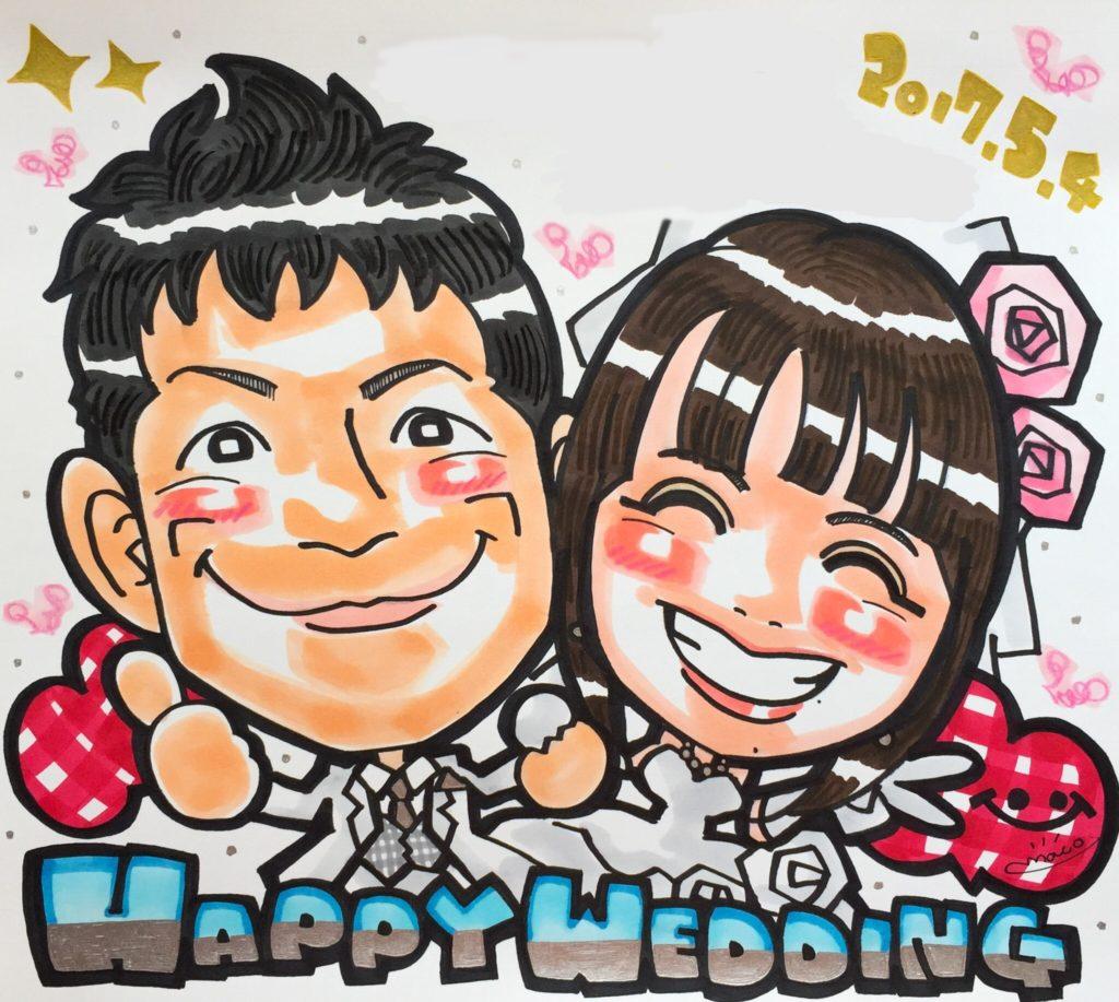 結婚式に人気の可愛い似顔絵ウェルカムボード
