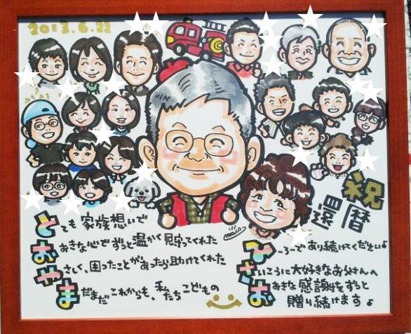 還暦のお祝いに家族みんながそろったかわいい似顔絵と人気の名前詩